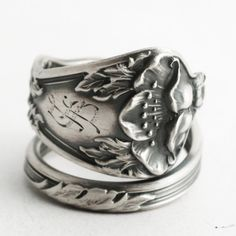 Poppy Ring Sterling Silver Spoon Ring Art Nouveau Ring