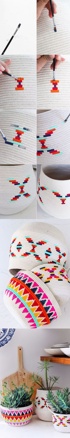 honestlywtf.com - DIY Painted Rope Basket