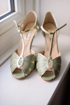 Rachel Simpson Shoes Green Gold T Bar Peep Toe Heels Bride Bridal Classic 1920s Gatsby Wedding Newland Hall http://www.fayecornhillphotography.co.uk/