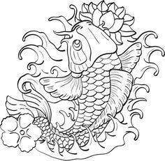 Plantillas para tatuajes del pez koi 3
