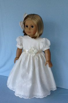 Perfect for tea parties.  I used a beautiful ivory eyelet for this dress.  The bodice is underlined and lined with ivory batiste. It has three tiny