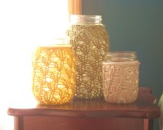 Crochet Decorations - Candle Holder / Vase - Dusty Green / Mustard Yellow / Linen Gray - Set of 3