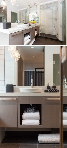 15 Examples Of Bathroom Vanities That Have Open Shelving // Under Each Of  The Sinks Part 86
