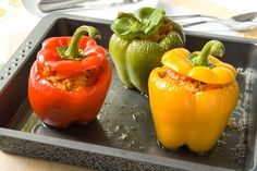 Vegetarian Stuffed Peppers Recipe Main Dishes with salt, bell pepper, olive oil, chopped onion, cooked brown rice, black beans, tomatoes, corn kernels, chili powder, ground cumin, Mexican cheese blend, ripe olives, fresh basil leaves, garlic, black pepper, pasta sauce, water