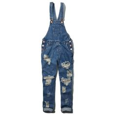 Abercrombie & Fitch One Teaspoon Awesome Overall ($64) ❤ liked on Polyvore featuring jumpsuits, overalls, pants, jeans, bottoms, destroyed medium wash, jumpsuits & rompers, blue bib overalls, bib overall and cotton jumpsuit