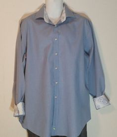 Tailorbyrd Shirt XL Flip Cuff Solid Blue Button Front Long Sleeve 100% Cotton  #Tailorbyrd #ButtonFront