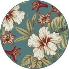 Capri Blue 5 ft. 3 in. Transitional Round Area Rug