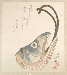Head of a Salmon  Totoya Hokkei  (Japanese, 1780–1850)  Period: Edo period (1615–1868) Culture: Japan Medium: Polychrome woodblock print (surimono); ink and color on paper