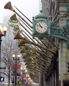 Marshall Fields Clock with Trumpets 5x7 Photo in 8x10 by re4mado