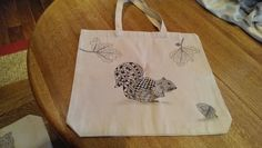 Squirrel zentangle inspired design on canvas tote