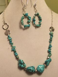 Chunky Turquoise Gemstone Side Clasp Silver Necklace with Swirl Earwires by PCMRNTREASURESJEWELS on Etsy