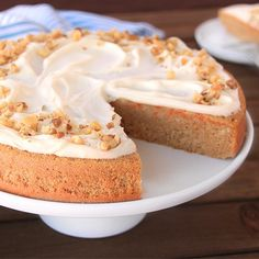 First-Rate Frosted Carrot Cake! Eating #dessert first is OK, right? Get the #recipe at hungry-girl.com! #yum #cake #LowCal #EasyRecipe #frosting #losangeles #la #california