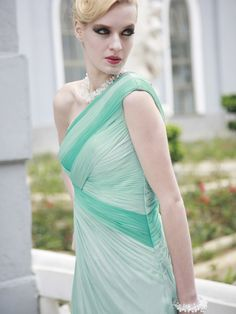 Pale Blue One Shoulder Floor length Formal Evening Dress