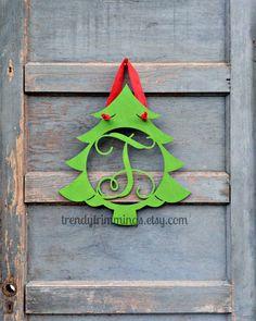 Christmas Tree Monogram- Holiday Trimmings™ Wooden Monogram Letter- Interlocking Script, Door Hanger Wreath- Christmas, winter holiday decor by TrendyTrimmings on Etsy https://www.etsy.com/listing/203484418/christmas-tree-monogram-holiday