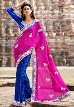 Pink Faux #Chiffon #Saree @ $82.00