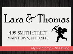 Cupid Self Inking Stamp  Custom Address by LittlePrintsStamps