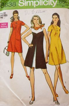 1960s One Piece Dress Sewing Pattern /Inverted Front Pleat