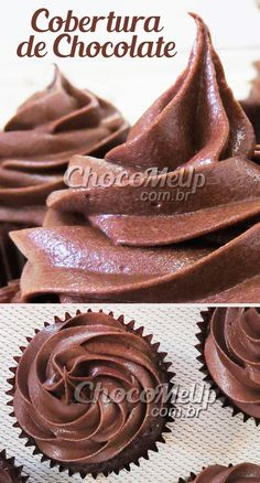 Receita de Cobertura de Chocolate para Bolos e Cupcakes. Esse creme também pode ser usado como recheio, porque é super cremoso. É uma variação do buttercream, pois além da manteiga e do açúcar, é adicionado o cream cheese, que deixa a consistência mais cremosa e o sabor bem menos doce. Suporta bem algumas horas fora da geladeira, basta apenas prestar atenção na textura, deixando-a mais consistente. #receita #cobertura #chocolate #recheio #bolo #receitafacil #doce #sobremesa Sweet Desserts, Dessert Recipes, Pelo Chocolate, Cupcakes, Cake Boss, Cream Cheese Frosting, Baking Tips, Nutella, Icing