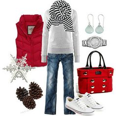 red winter casual. love that purse!!