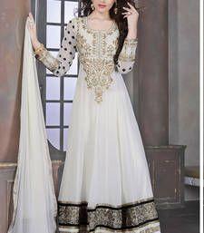 Buy White embroidered georgette semi-stitched salwar with dupatta wedding-salwar-kameez online