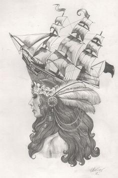 Marie Antoinette Ship Hat Tattoo Design