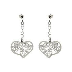 Boucles d'oreilles romantiques - C?urs et fleurs en Argent: ShalinCraft: Amazon.fr: Bijoux