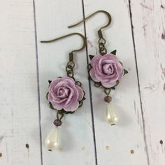 Flower and Pearl Earrings with Pastel Purple Roses by MonicaRudyJewelry