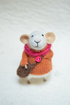 Little Traveler Mouse with recycled swaeter  by feltingdreams, $68.00