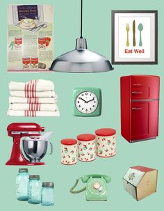 Mid century teal mint and red