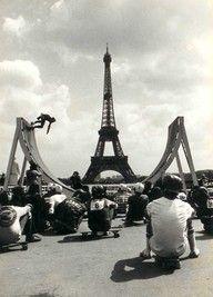 Post with 603 views. Skateboarding in the shadow of the Eiffel Tower, Paris 1976 Tour Eiffel, Oh Paris, Paris Nice, Skate Girl, Longboarding, Snowboards, Surfing, Scenery, Graffiti