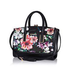 Black floral print frame tote bag £40.00