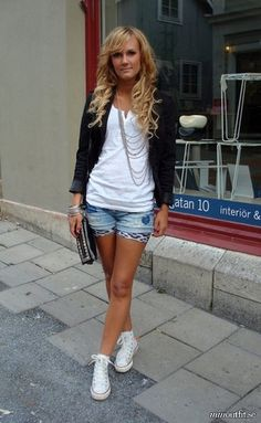 White Converse sneakers, and causal look.
