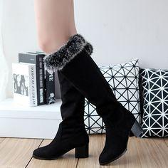 Shoespie Nubuck Shearling Low Heel Snow Boots