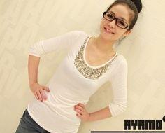 Long Sleeve Rivet Embellished T-shirt white