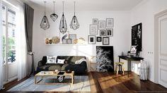 Galeria ścienna dekoruje salon w stylu skandynawskim. Kontrastowe połączenie czerni i bieli ocieplają dodatki i meble z...