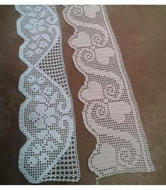 New lace models with butterfly needle. Filet Crochet, Crochet Chart, Love Crochet, Crochet Stitches, Crochet Curtains, Crochet Doilies, Crochet Lace, Knitting Patterns, Crochet Patterns