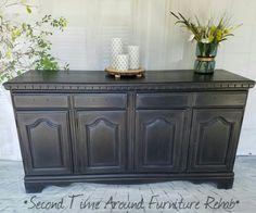 Black Buffet Server - soft black chalk paint and white wax