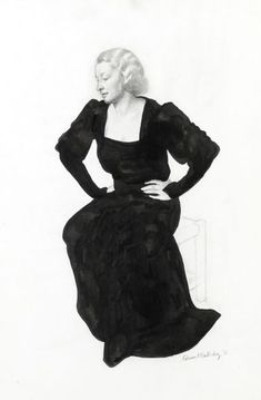 of a seated, three quarter view, 1935 over Gouache, Modern Art, Goth, British, Pencil, Portraits, Female, Woman, Black