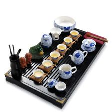 blue-and-white porcelain tea set solid wood tea tray complete tea set in Chinese