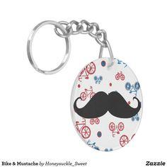 Bike & Mustache Keychain