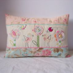 Cushion birds flowers ladybug and butterfly by roxycreations