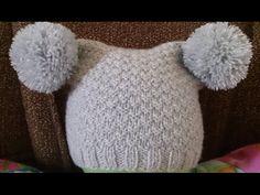 ВЯЗАНИЕ СПИЦАМИ!ДЕТСКАЯ ШАПКА С ПУМПОНАМИ!Knitting