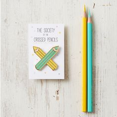 Enamel Pencil Brooch Badge Pin The Society of The Crossed Pencils by andsmile on Etsy https://www.etsy.com/listing/247933594/enamel-pencil-brooch-badge-pin-the