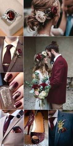 incorporate burgundy colors into your bridal makeup,bridal accessories and groom attire