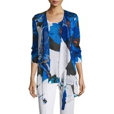 Berek Floral Lapis of Luxury Cardigan ($67) ❤ liked on Polyvore featuring tops, cardigans, cobalt, floral cardigan, drapey cardigan, beaded cardigan, plus size long sleeve tops and shawl collar cardigan