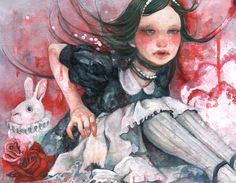 "fairytalemood:  ""Alice"" by ジュウニコ  Much as I like this… why do people insist on macabre Wonderland?"