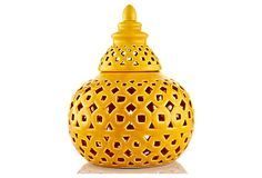 """9"""" Covered Ceramic Jar, Yellow on OneKingsLane.com A vibrant hue and Eastern-inspired design give this covered ceramic piece the look of an exotic bazaar find."""