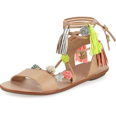 Loeffler Randall Suze Pompom Ankle-Wrap Sandal (2,085 MXN) ❤ liked on Polyvore featuring shoes, sandals, pointed-toe ankle-strap flats, ankle wrap flats, wide shoes, wide width flats and ankle wrap sandals