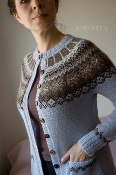 CO method, CO 29 sts. First and last stich worked in reverse stockinette. added pattern on the bottom of the sleeves. Fair Isle Knitting Patterns, Fair Isle Pattern, Knitting Charts, Knitting Yarn, Knit Patterns, Harry Potter Knit, Drops Alpaca, Cardigan Design, Icelandic Sweaters