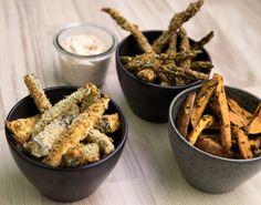 Grøntsagsfritter på nul komma fem. Forkæl dig selv eller dine gæster med lækre ovnbagte grøntsagsfritter med dip. Perfekt som snacks, forret eller tapastallerkenen.